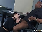 A hot bank manager with huge natural tits satisfies her...