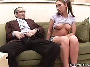 Perverted old fart wants teen pussy of naughty Olga