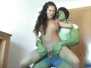 The incredible hulk takes out his rage on a hotness girl